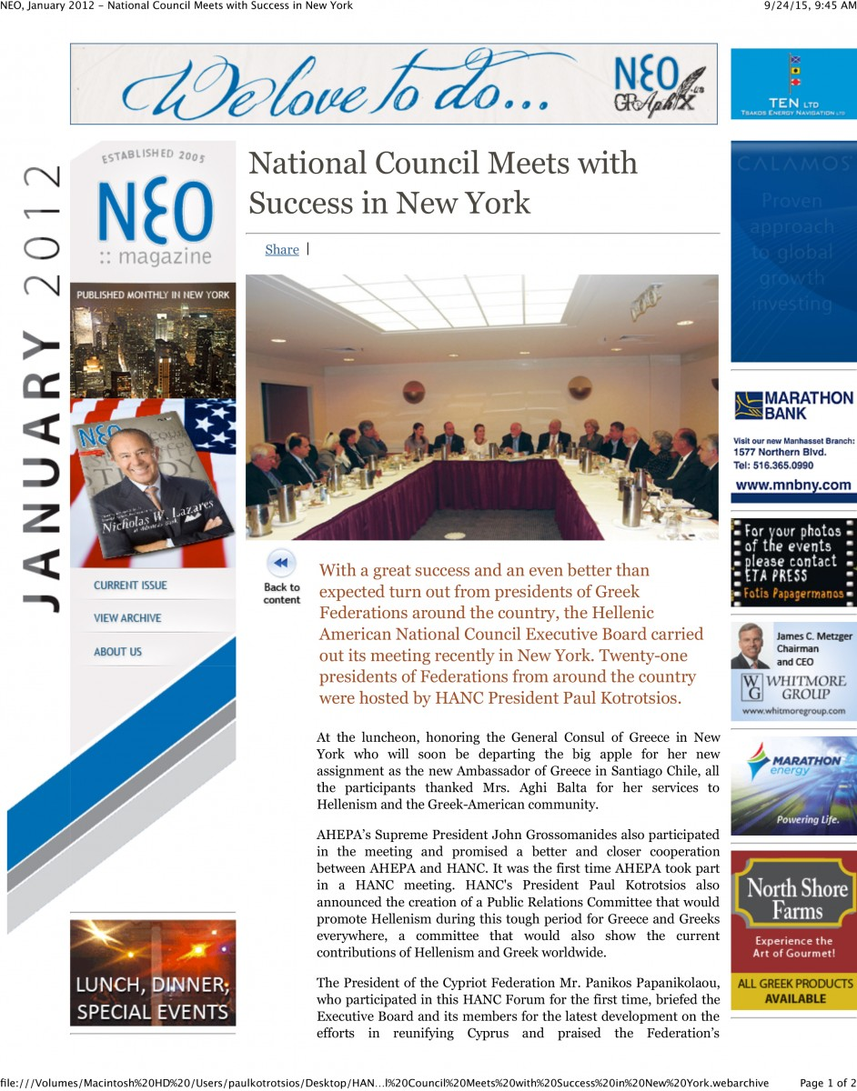 NEO, January 2012 - National Council Meets with Success in New York-1
